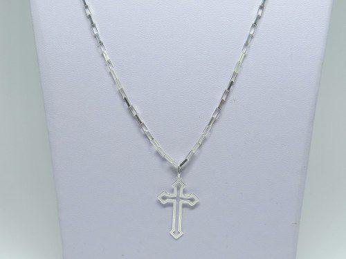 ea8d53c96f Imagem de Corrente Cordão Masculino Prata 70cm Pingente Crucifixo Laser  Vazado Prata 925 Cadeado