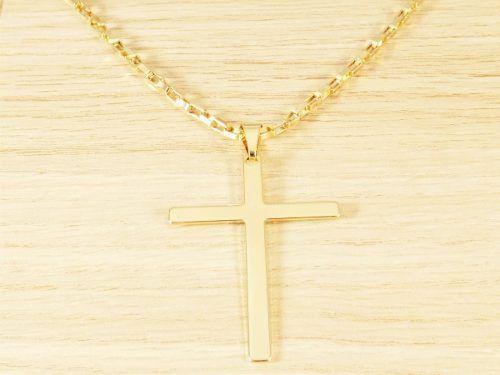 Imagem de Corrente Masculina Cordão Q 60cm 3mm Cruz Lisa Folheado Ouro.  Cod  1812 f3ab150973