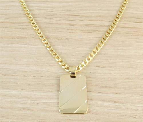 Imagem de Corrente Masculina Grumet 50cm 3mm Pingente Placa Tudo Folheado  Ouro Cod  1770  f6ecfd16f0