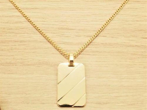 Imagem de Corrente Masculina Grumet 70cm 2mm e Pingente Placa Tudo Folheado  á Ouro. Cod 7c8c41eacb