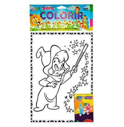 Desenho Para Colorir Com 5 Gizes De Cera Mini Toys Kit De