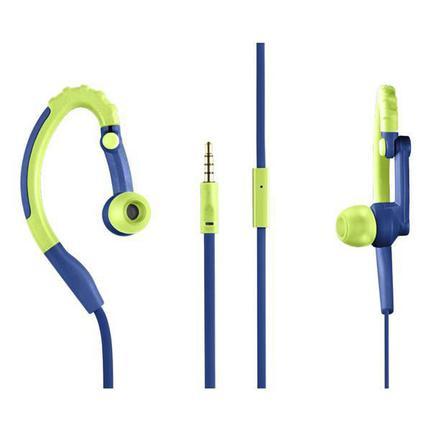 Fone de Ouvido Earphone Hook Sport Azul e Verde Pulse Sound Ph207