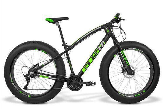 Bicicleta Gts M1 Fat Aro 26 Susp. Dianteira 9 Marchas - Preto/verde