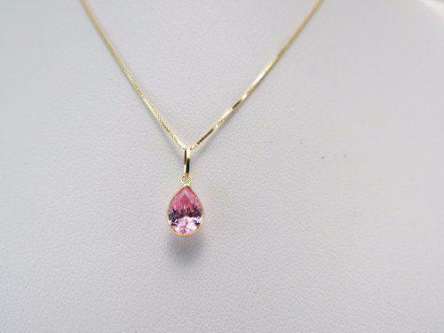 99f7115fcaffd Imagem de Gargantilha Veneziana 40cm Colar Ponto De Luz Gota Rosa Em Ouro  18k 750