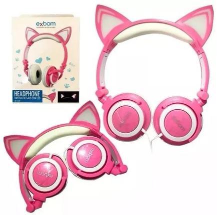 Fone de Ouvido Headphone Orelha Gato Ear Cat Exbom Hfc22