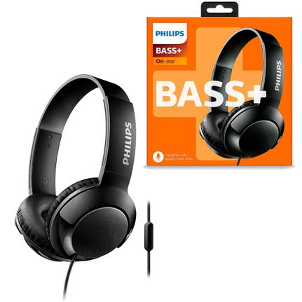 Fone de Ouvido Headphone Com Controle Supra-auricular Bass+ Preto Philips Shl3075bk/00
