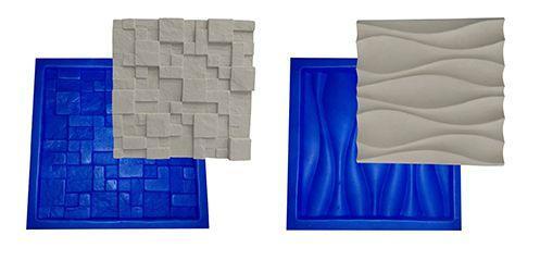 9b80fc3cc Kit 2 Formas Borracha Com Plastico Para Placas Gesso 3d - Xmoldes ...