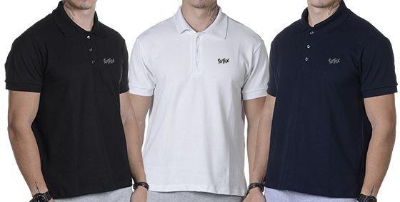 cacbc86f8 Kit 3 Unidades Camisas Suffix Polo Masculina Básica - Vestuário ...