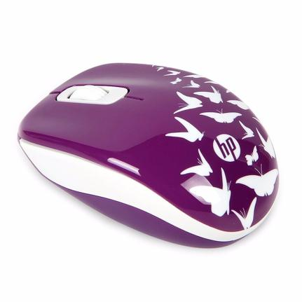 Mouse Wireless Óptico Led 1200 Dpis Z3600 Butterfly Roxo F7m62aa Hp