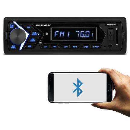 MP3 Player Automotivo Multilaser Prime BT P3337 1 Din LCD Bluetooth USB SD Auxiliar P2 Rádio FM