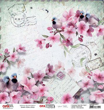 Papel Scrapbook Opadecor Flor Cerejeiras 1 30 5x30 5 2794 Opa