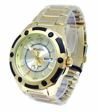 508289b4c08 Relogio atlantis unissex g3265 fundo dourado - Relógio Masculino ...