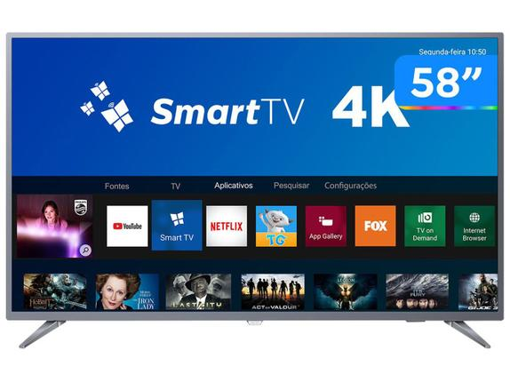 "Tv 58"" Led Philips 4k - Ultra Hd Smart - 58pug6513/78"