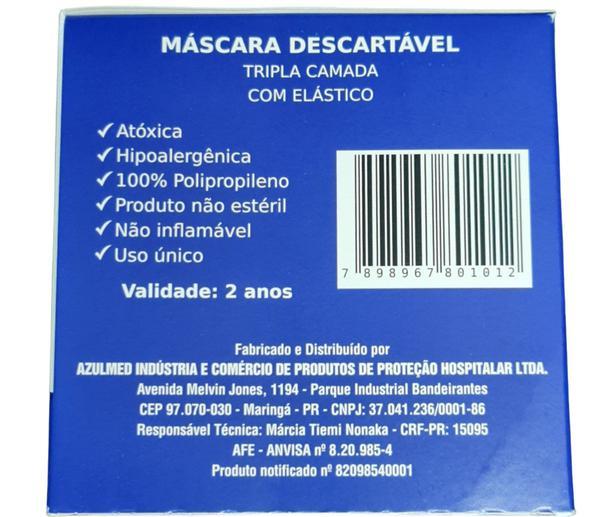 Imagem de 50 MÁSCARAS DESCARTÁVEIS TRIPLA com ANVISA 82098540001