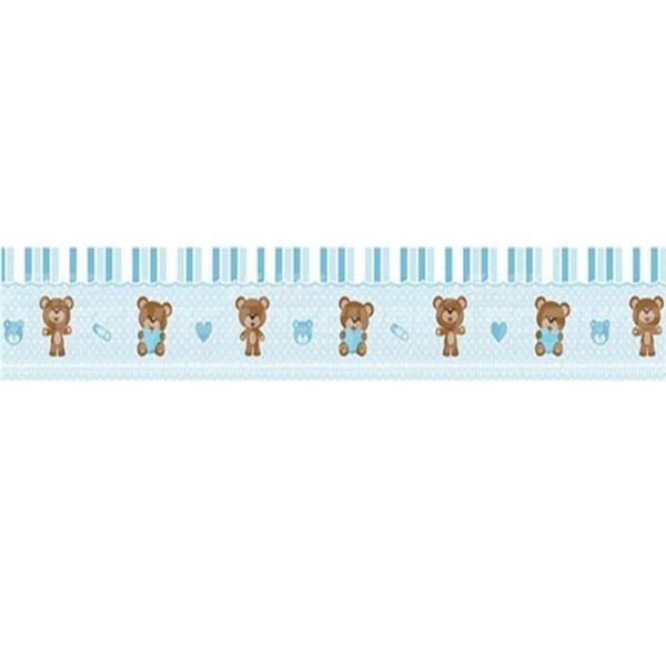 Imagem de Adesivo de Parede Faixa Decorativa Para Quarto Infantil Ursinho Azul