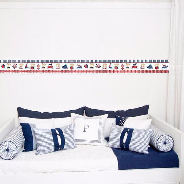 Imagem de Adesivo de Parede Faixa Decorativa Para Quarto Infantil Ursinho Marinheiro