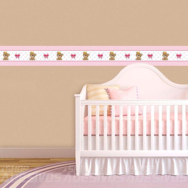 Imagem de Adesivo de Parede Faixa Decorativa Para Quarto Infantil Ursinho Princesa