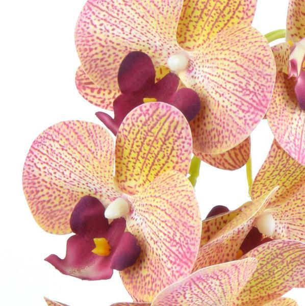 Imagem de Arranjo de Orquídea Artificial Amarela em Vaso Branco July