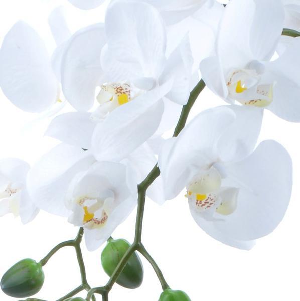 Imagem de Arranjo de Orquídea Artificial Branca 4 Hastes Vaso Rose Gold