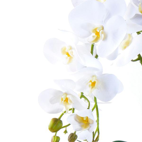 Imagem de Arranjo de Orquídea Artificial Branca 4 Hastes Vibrante