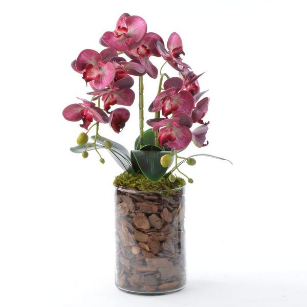 Imagem de Arranjo de Orquídeas de Silicone Rosa em Vaso Tubo