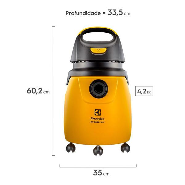 Imagem de Aspirador de Pó e Água Profissional 1300W GT3000 Electrolux 20L com Alcance Total de 7,7m (GT30N)
