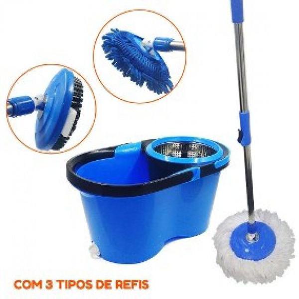 Imagem de Balde Perfect Mop Pro 360 Inox Com 3 Refis Azul