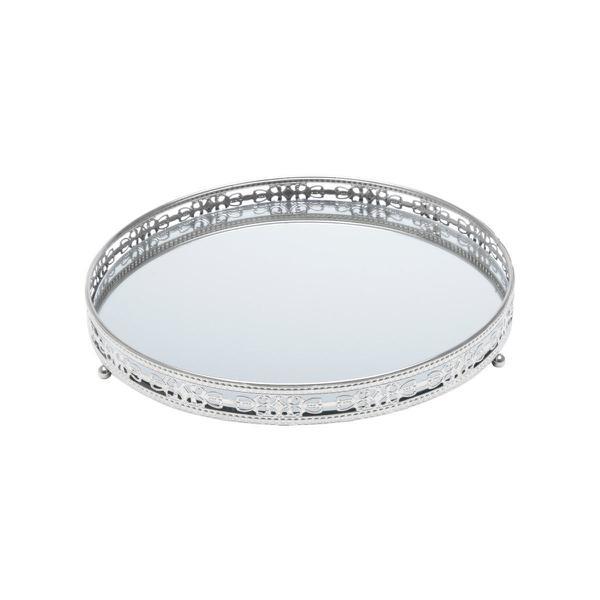 Imagem de Bandeja suporte 19,5 cm de ferro prata com espelho Bunch Wolff - 27207