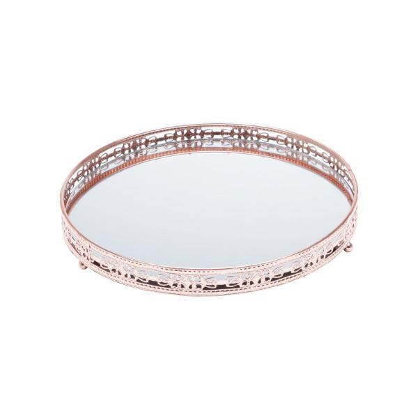 Imagem de Bandeja suporte 29 cm de ferro bronze com espelho Bunch Wolff - 27212