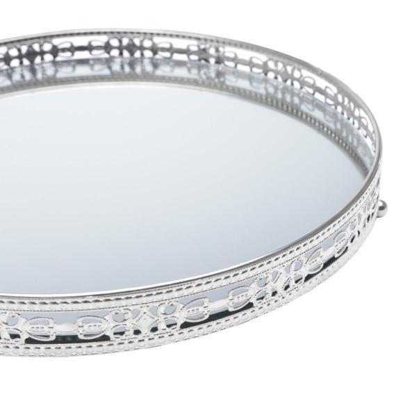Imagem de Bandeja suporte 29 cm de ferro prata com espelho Bunch Wolff - 27211