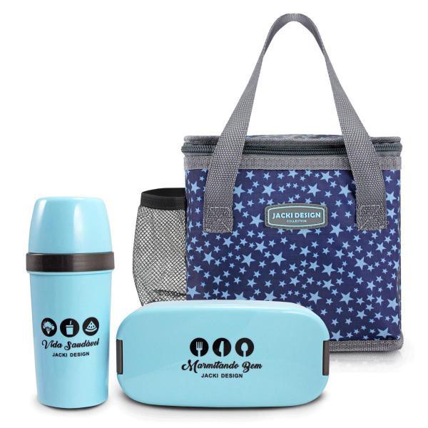 Imagem de Bolsa Térmica Lancheira com Marmita e garrafa Azul Estrela