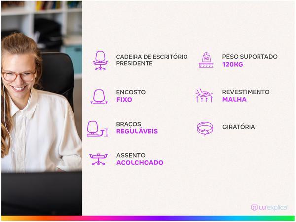 Imagem de Cadeira de Escritório Presidente Giratória Preta