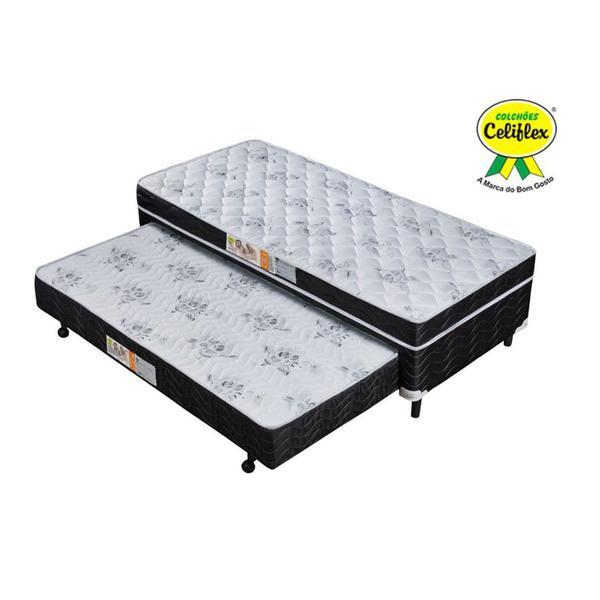 Imagem de Cama Box Conjugada Solteiro com Cama Auxiliar Espuma D28 88x188x52 Poliéster - Celiflex