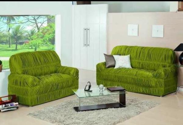 Imagem de Capa de Sofa 2 e 3 Lugares King Elasticada Malha Gel Verde