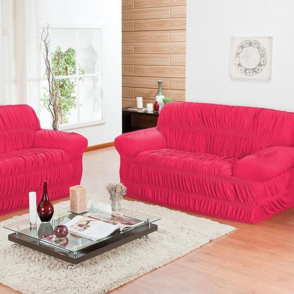 Imagem de Capa de Sofá 2 Lugares Elásticada Pink