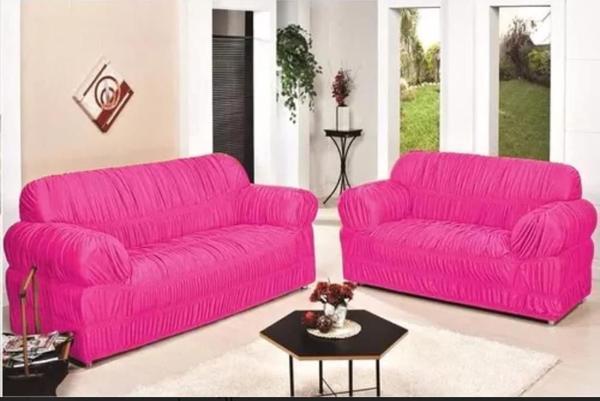 Imagem de Capa para Sofa 2 e 3 Lugares Padrão Elasticada Malha Gel Rosa