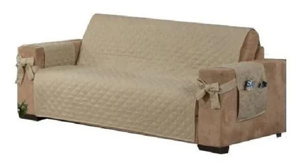 Imagem de Capa para sofa avulsa 3 lugares com laço e porta objetos caqui