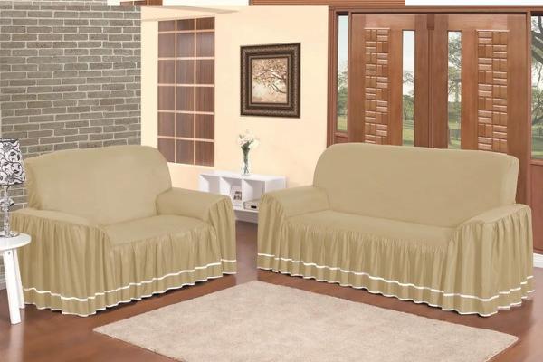Imagem de Capa para sofá dalia 2e3 lugares - avelã - Bell Enxovais