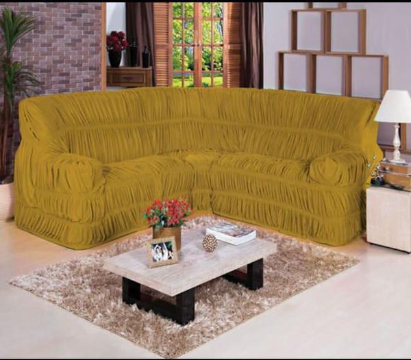 Imagem de Capa para Sofa de Canto Elasticada Até 6 Lugar Malha Gel Mostarda