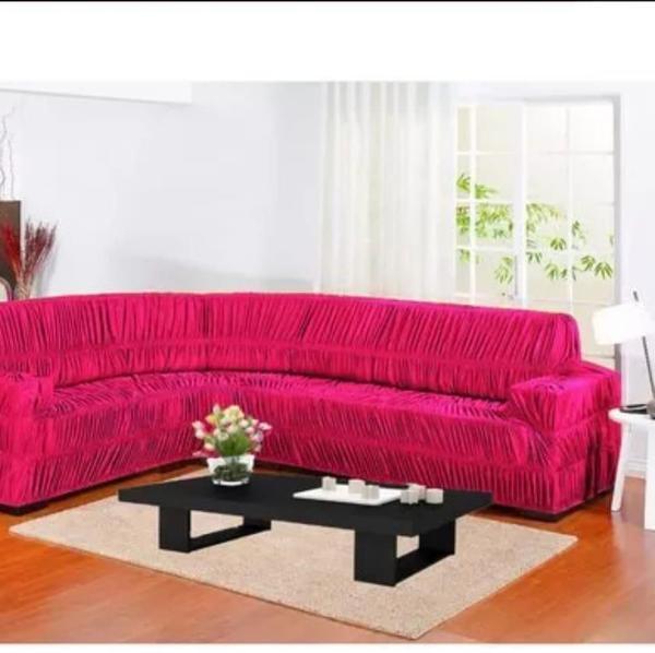 Imagem de Capa para Sofa de Canto Elasticada Até 6 Lugar Malha Gel Pink