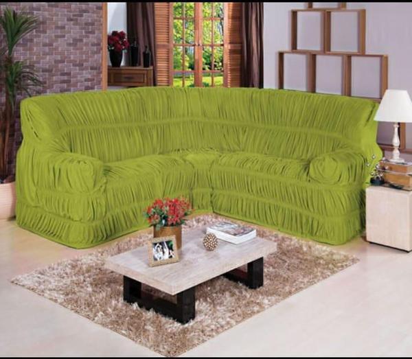 Imagem de Capa para Sofa de Canto Elasticada Até 6 Lugar Malha Gel Verde