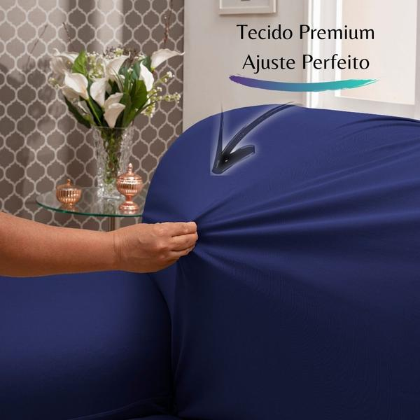 Imagem de Capa para Sofá de Malha c/ Elástico Alto Padrão - Azul Bic
