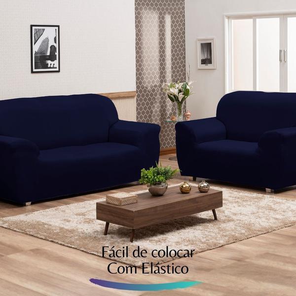 Imagem de Capa para Sofá de Malha c/ Elástico Alto Padrão - Azul Marinho