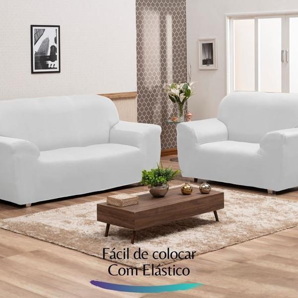 Imagem de Capa para Sofá de Malha c/ Elástico Alto Padrão - Branco