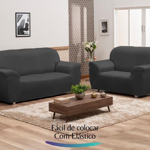 Imagem de Capa para Sofá de Malha c/ Elástico Alto Padrão - Cinza Escuro