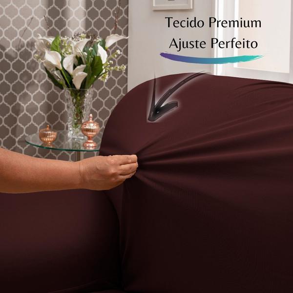 Imagem de Capa para Sofá de Malha c/ Elástico Alto Padrão - Vinho