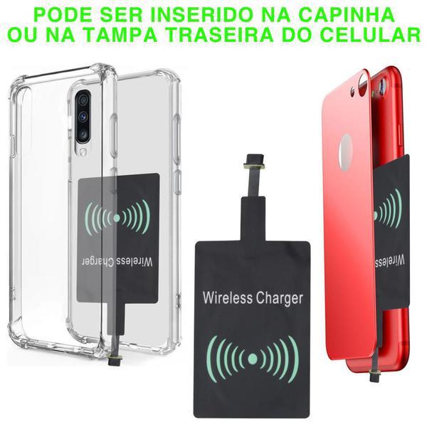Imagem de Carregador Sem Fio Wireless LT-55 Smartphone Android Receptor V8 Padrão QI Cabo USB Indução Branco
