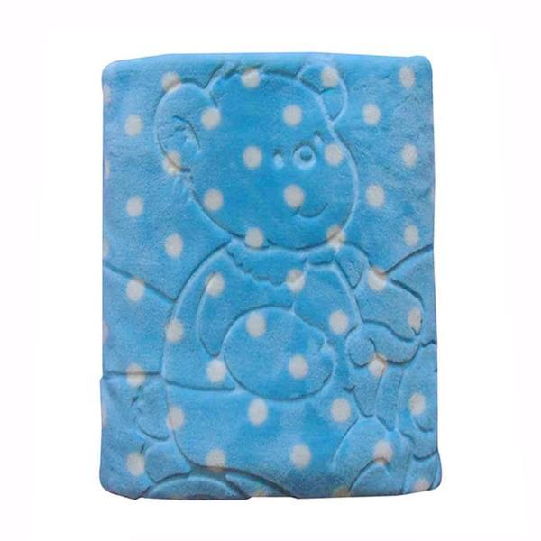 Imagem de cobertor bebê menino Jolitex em relevo com capuz
