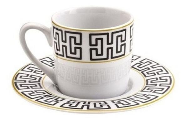 Imagem de Conjunto 6 xícaras de café com pires de porcelana 90 ml