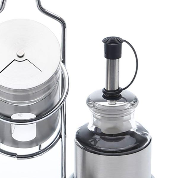 Imagem de Conjunto Galheteiro de Aço Inox e Vidro 5 peças Pointer - Bon Gourmet